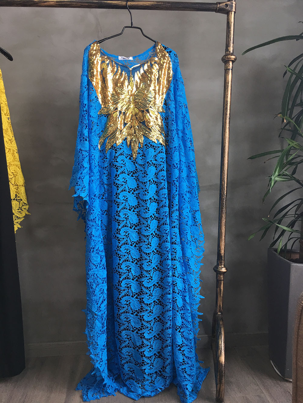 African Dresses for Women Dashiki Lace African Clothes Bazin Broder Riche Sexy Embroidery Sequins Robe Evening Long Dress 2020 10