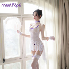 Glamorous foreign trade new sexy lingerie role play uniform seduction gentle maid jumpsuit WA6050