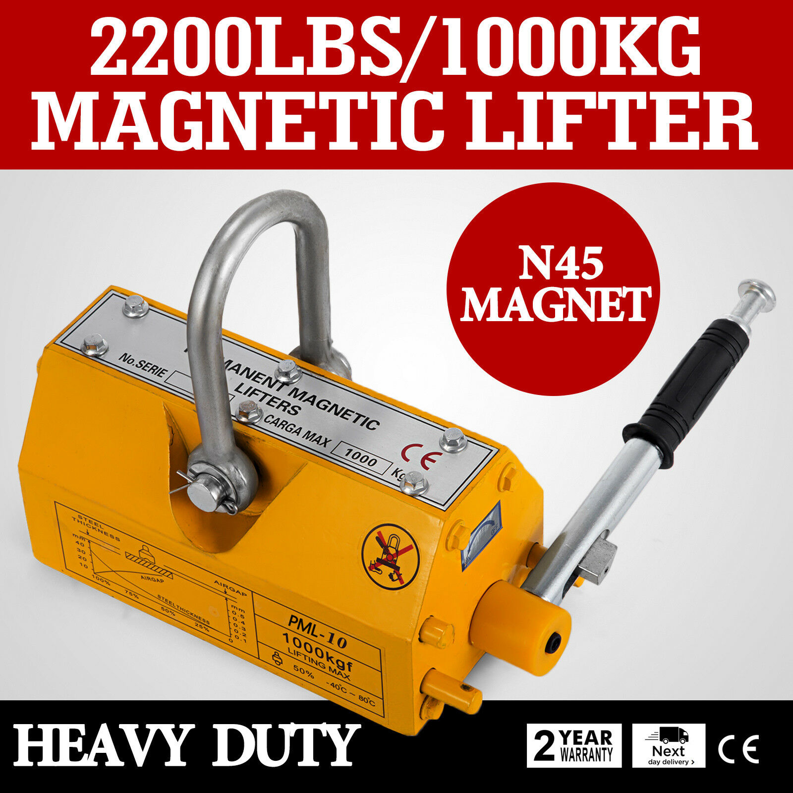 1000KG / 2200LBS Steel Magnetic Lifter Heavy Duty Crane Hoist Lifting Magnet