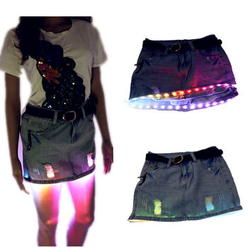 цена на Fashion Mini LED Sexy Skirt Party Nightclub Mini Skirts Fashion Female Fitted Tight All-over Skirt