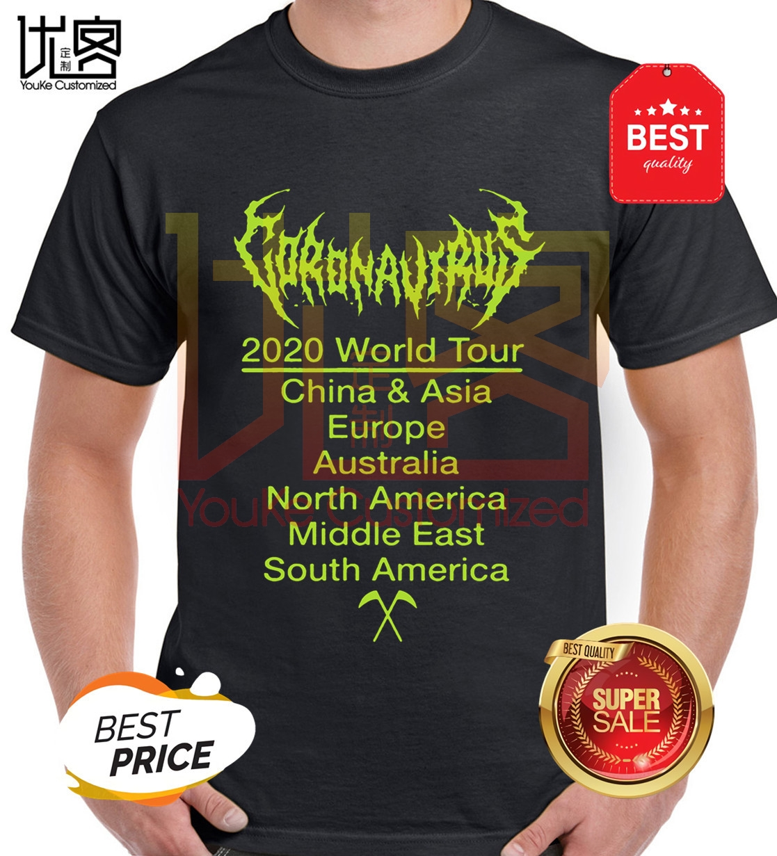 Coronavirus-world-tour-china-asia-europe-t-shirts Men's Women's 100% Cotton Short Sleeves Tops Tee Printed Crewneck T-shirt