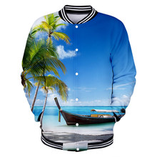 Aikooki 3D Beach Coconut Tree Jackets Men/Women Hoodies Sea Beautiful Seaside View Baseball Jacket Mens Button Coats Outwear(China)