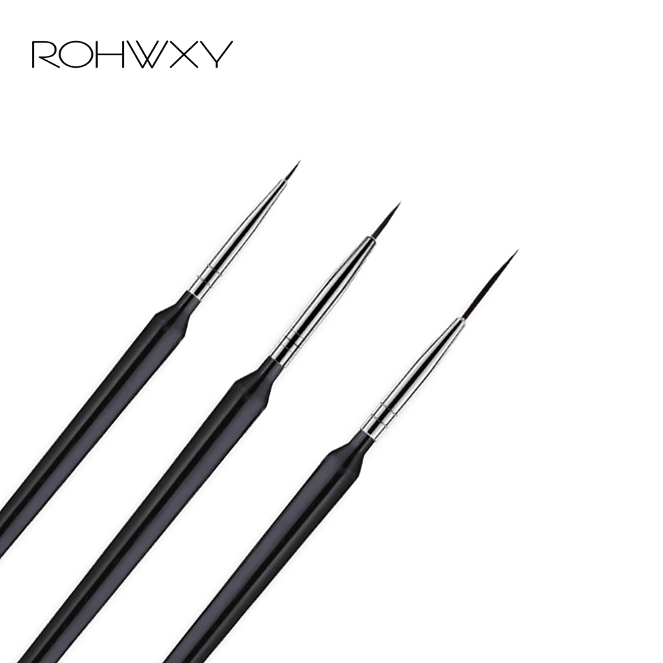 ROHWXY 3Pcs/Set Nail Art Brushes Acrylic French Painting Brush Flower Design Stripes Lines Liner DIY Drawing Pen Manicure Tools