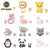 Letmake s fazer 2 pc/set silicone mordedor brinquedos da criança do bebê diy carrinho de criança acessórios para chupeta corrente grau alimentício brinquedos do bebê mordedor