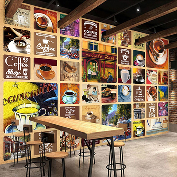 Custom Mural Wallpaper 3D Vintage Coffee Creative Wall Covering Restaurant Cafe PVC Self-Adhesive Waterproof Canvas Sticker