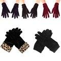 Женские черные бархатные леопардовые перчатки, теплые зимние перчатки для велоспорта, элегантные мягкие варежки ручной работы
