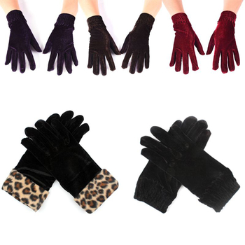 Fashion Women Black Velvet Leopard female gloves Cycling cold Winter Warm Full Finger Gloves Elegant soft handmade Mittens sparsil women winter velvet touch screen gloves warm fleece full finger cashmere mittens windproof elegant glove female girl