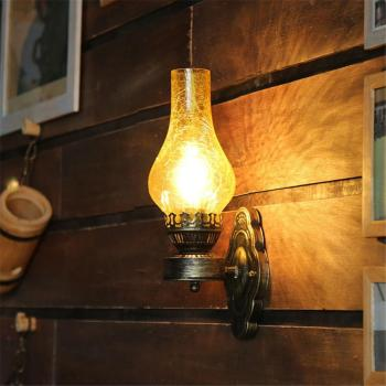 Artpad Vintage Metal Wall Glass Light Chinese Style E27 Oil Lamp with Crack Lampshade Decoration for Bar Loft  Corridor  Bedroom american retro village wall lamp e27 holder glass lampshade crystal bell style bedroom bedside lamp balcony corridor lighting