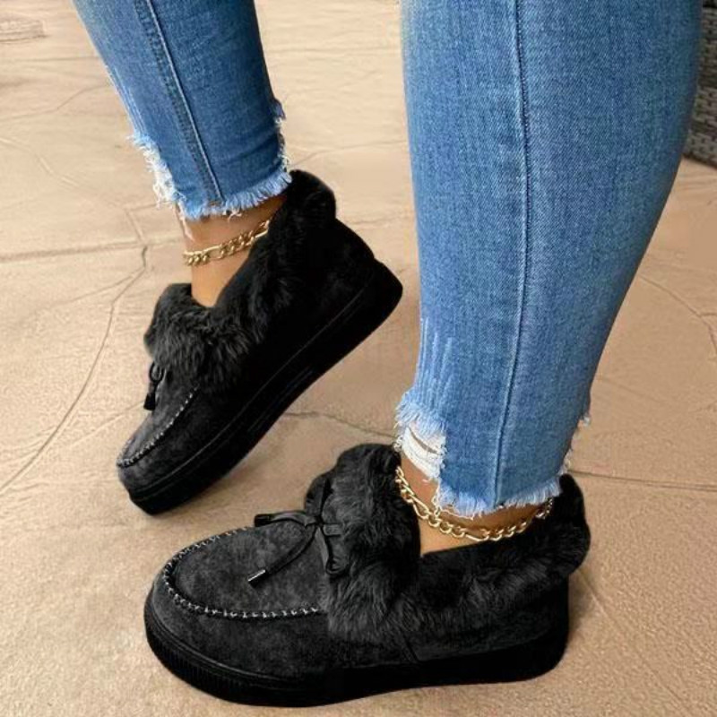 2020 Women's Casual Fur Shoes Cute Bowknot Trending Fluffy Furry Slip-on Sneakers Winter Ladies Plush Loafers Flats Platform