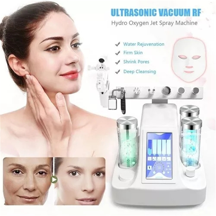 9 In 1 BIO Lamp Deep Facial Cleaning RF Hydrogen Water Jet Peeling Machine Pores Blackhead Vacuuming Facial Massage Skin Care