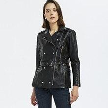 Chaquetas de cuero mujer 2019 locomotive slim double-breasted women's leather jacket long chaqueta de cuero mujer with belt цена