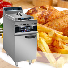 380V stainless steel commercial double-barrel screen high-power electric fryer vertical hamburger fried chicken equipment(China)