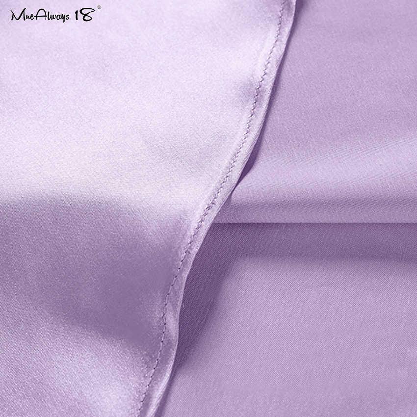 Mnealways18 Solide Lila Satin Seide Rock Frauen Hohe Taille Sommer Langen Rock Neue 2020 Elegante Damen Büro Röcke Midi Frühling