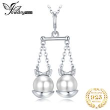 Zodiac Libra Shell Pearl Pendant Necklace 925 Sterling Silver Choker Statement Women Jewelry Without Chain