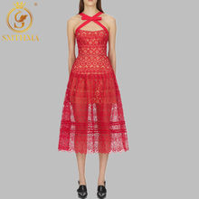 SMTHMA 2019 Summer Lace Patchwork Red Dress Women Work Casual Party Slim Dresses Vintage Vestidos(China)