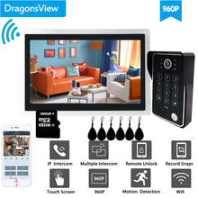 Dragonsview 10 Inch Wifi Intercom Systeem Draadloze Deurbel Camera Rfid Wachtwoord Unlock Record Bewegingsdetectie Ip Deur Access