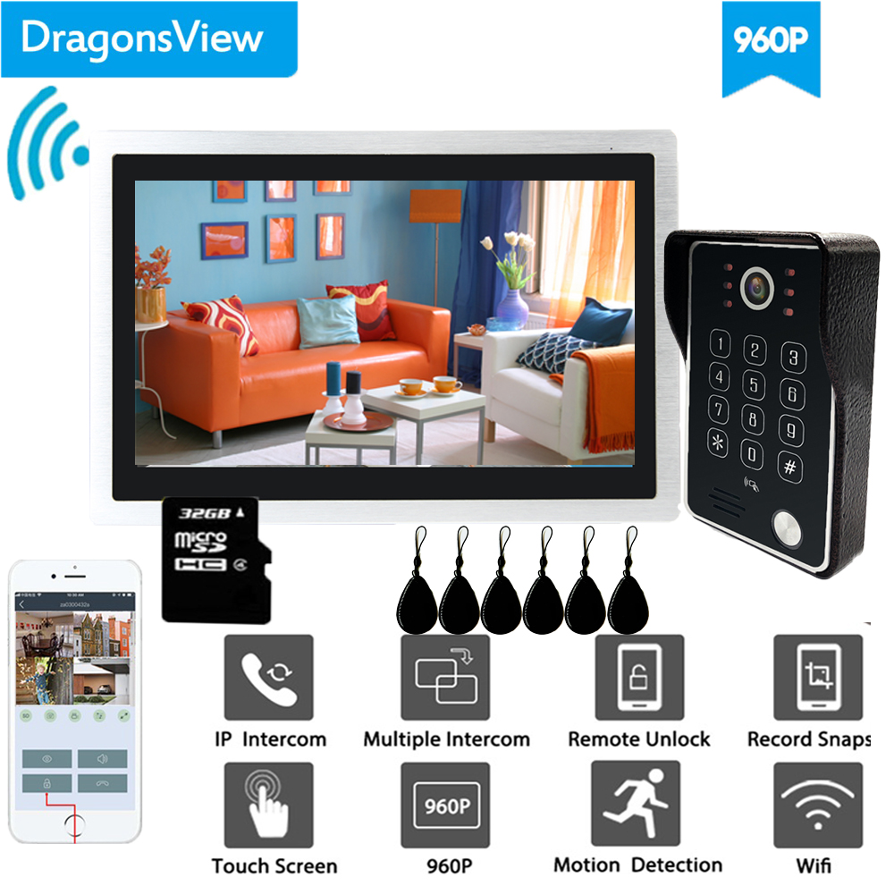 Dragonsview 10 Inch Wifi Intercom System  Wireless Doorbell Camera RFID Password Unlock Record Motion Detection IP Door Access
