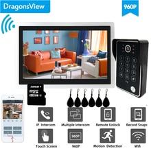 Dragonsview 10 Inch Wifi Intercom System  Wireless Doorbell Camera RFID Password Unlock Record Motion Detection IP Door Access