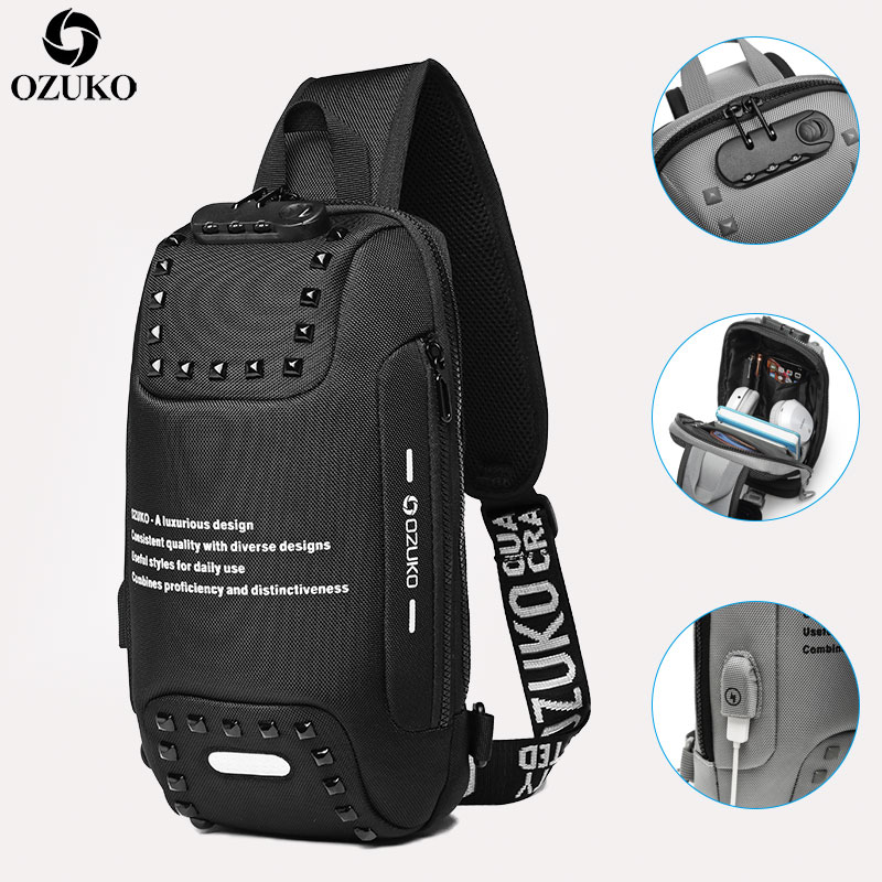 OZUKO New Anti-thief Crossbody Bag Multifunction USB Charging Chest Bags Pack Male Waterproof Short Trip Shoulder Messenger Bag