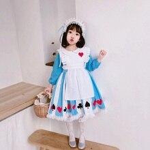 Платье в стиле Лолиты для маленьких девочек; платье принцессы Алисы с длинными рукавами; винтажное платье в японском стиле Лолиты