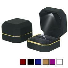 Octagonal LED Light Ring Jewelry Storage Box Organizer Valentine Day Gift Case 2016 pendant ring box jewelry display storage foldable case for wedding ring earrings bracelet valentine s day gift organizer
