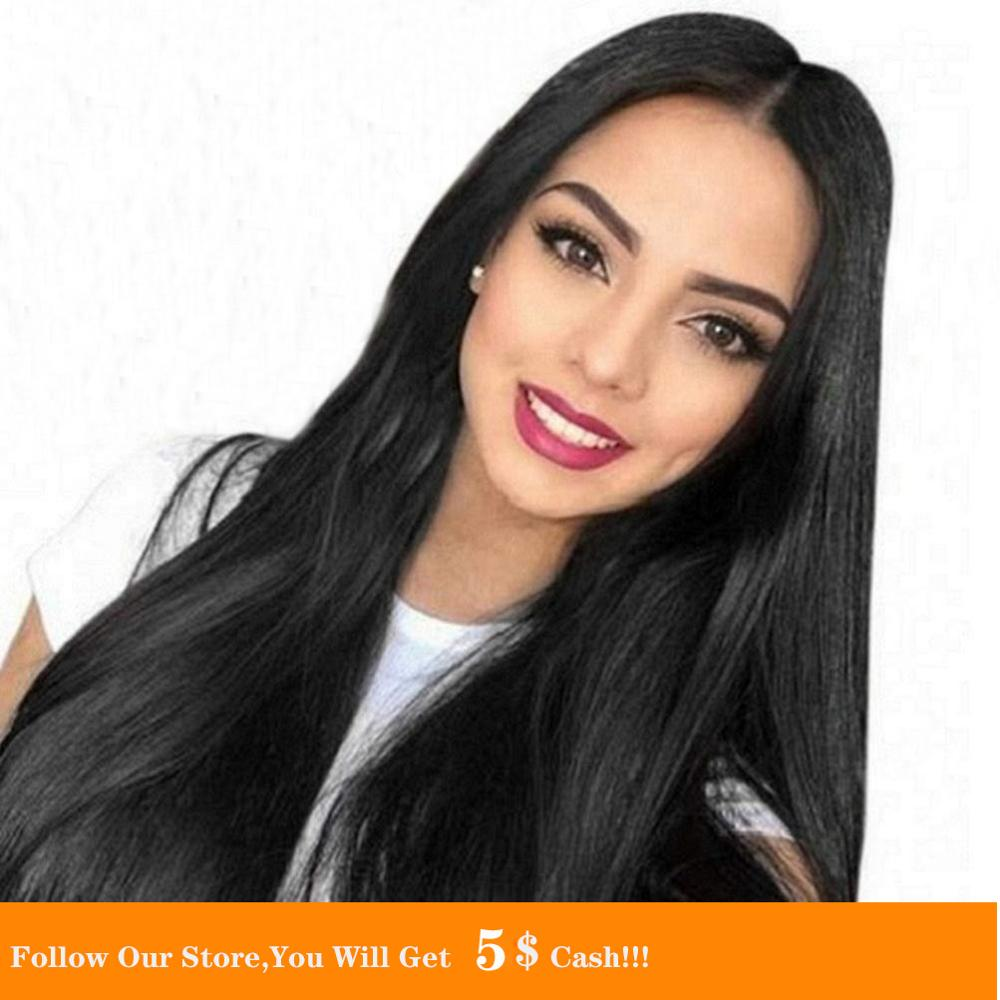 13x4 Natural Long Black Soft Ponytail Straight Lace Front Wigs Heat Resistant Synthetic Hair Wigs For Black Women 26 Inch