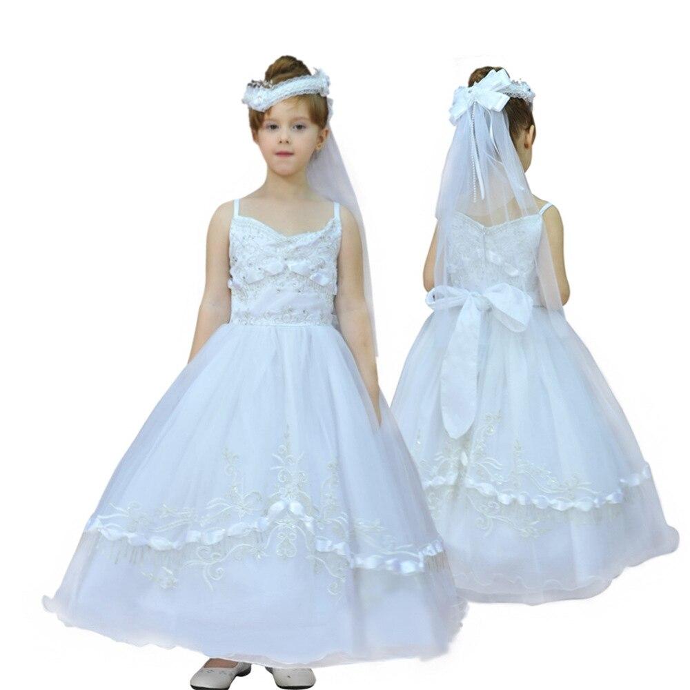 2020 nouvelle mode enfants vêtements mariage fleur fille robe de mariée blanc princesse moelleux enfant robe