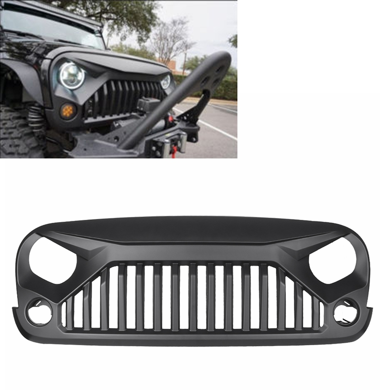 Car Front Grille Racing Grill Cover Decoration For Jeep Wrangler JK Unlimited 2007 08 09 10 11 12 13 14 15 16 2017 Matte Black