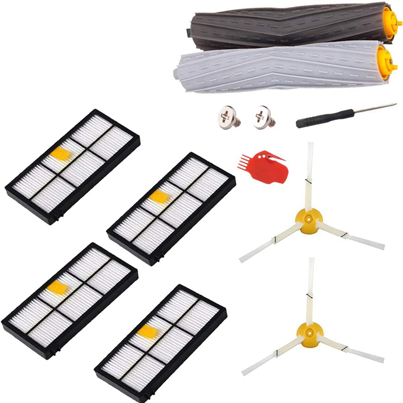 Replenishment Kit For Irobot Roomba 800 900 Series, 9 Pcs Vacuum Replacement Parts With 4 Hepa Filters 2 Side Brushes 1 Set Debr