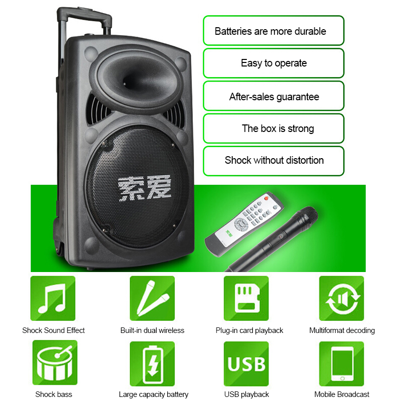 Big Speaker 300W Power Outdoor Bluetooth Wireless Microphone Pull Rod Remote Controller FM Radio Support TF Subwoofer 2