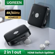Ugreen HDMI Switch Switcher HDMI 4K/60Hz per Xiaomi Mi Box convertitore 2 In 1 Out Splitter HDMI per PS5 PS4 TV Box Switcher HDMI