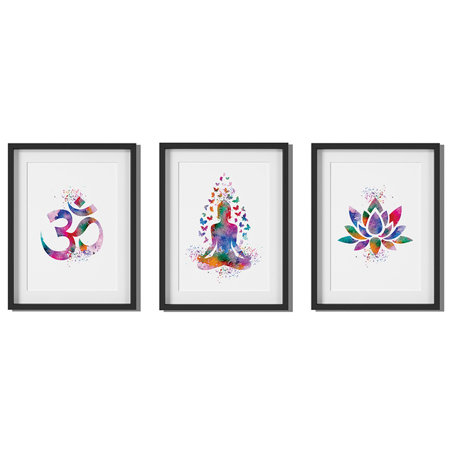 Indian Elephant Poster Bohemian Art Print Poster With Lotus Flower Design no frame 20x30 Large