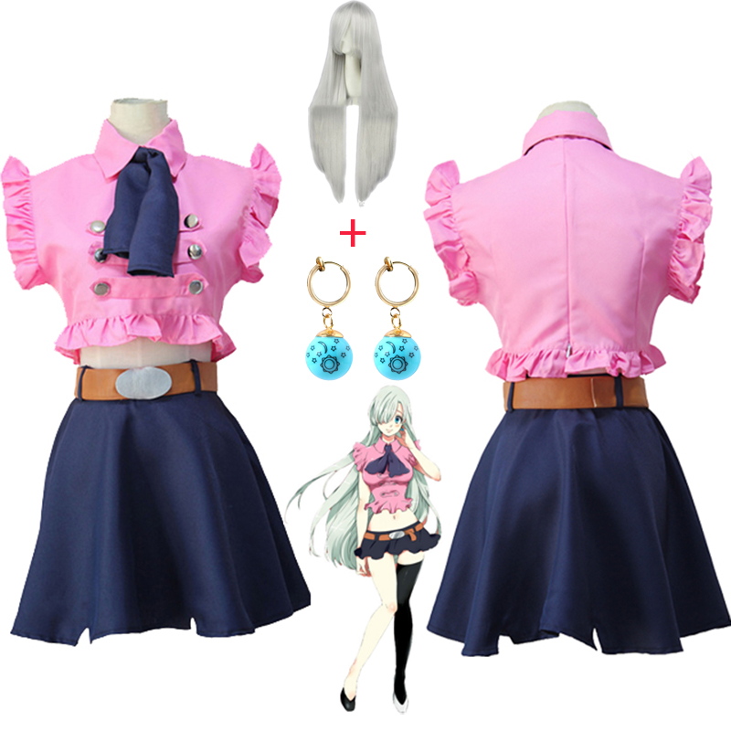 The Seven Deadly Sins Elizabeth Liones Cosplay Costume Japanese Anime Nanatsu No Taizai Uniform Suit Outfit Clothes Wig Earrings