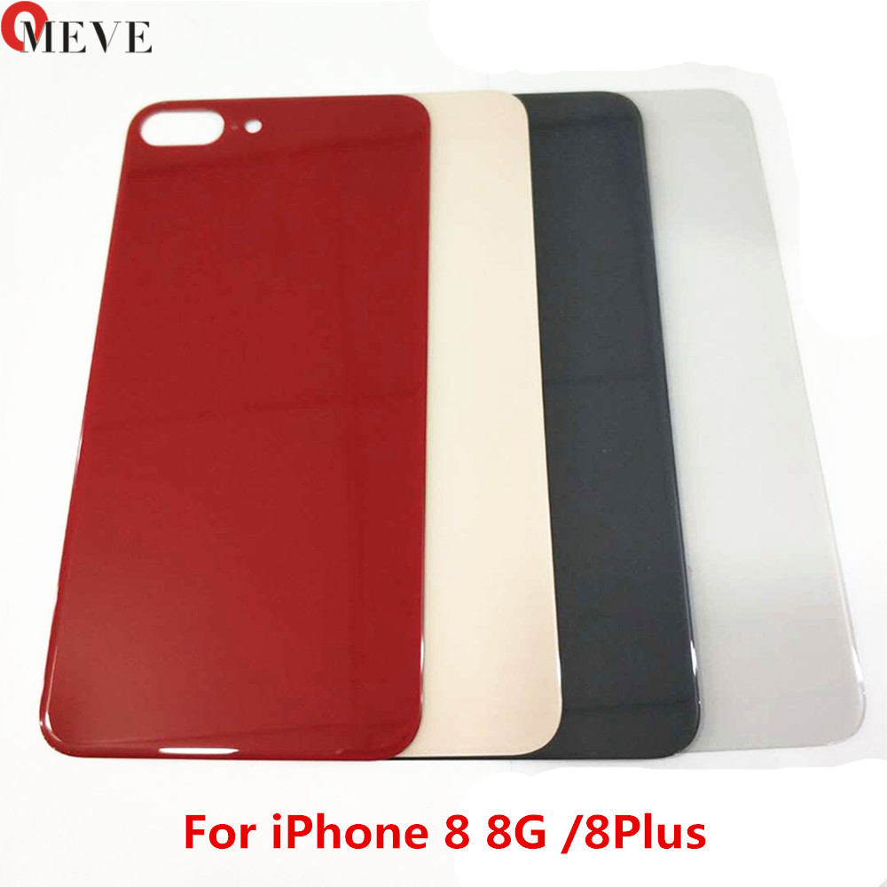 For Iphone 8 8 Plus X Back Glass Housing + Adhesive Rear Crystal Panel Plate Battery Cover Lid Shell + EU Europe Version
