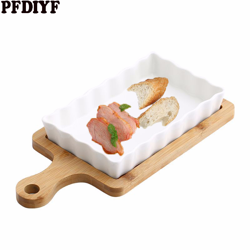 Creative ceramic baking tray oven bowl plate with anti-scalding bamboo mat cheese risotto dish baking tableware for restaurant