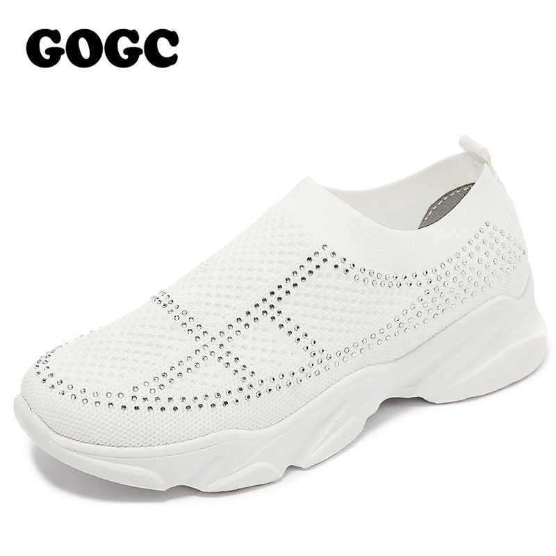 GOGC oddychające sneakersy z siatką kobiety casualowe buty sportowe sportowe buty 2020 wiosna lato zasznurować buty damskie chaussures femme G692