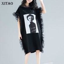 [Xitao] 2019 Nieuwe Aankomst Lente Vrouwen Mode Zomer Europa Casual Losse Korte Mouwen Ruches O hals Knielange jurk WBB2921