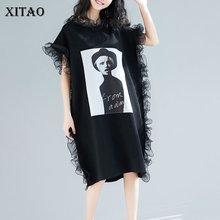 [Xitao] 2019 nova chegada primavera feminina moda verão europa casual solto manga curta babados o pescoço joelho comprimento vestido wbb2921