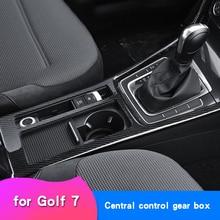 Adesivo de fibra de carbono para golf 7, adesivo de carro para golf mk7, modificação de interior, caixa de copo com controle e bloco de engrenagem, armação decorativa brilhante