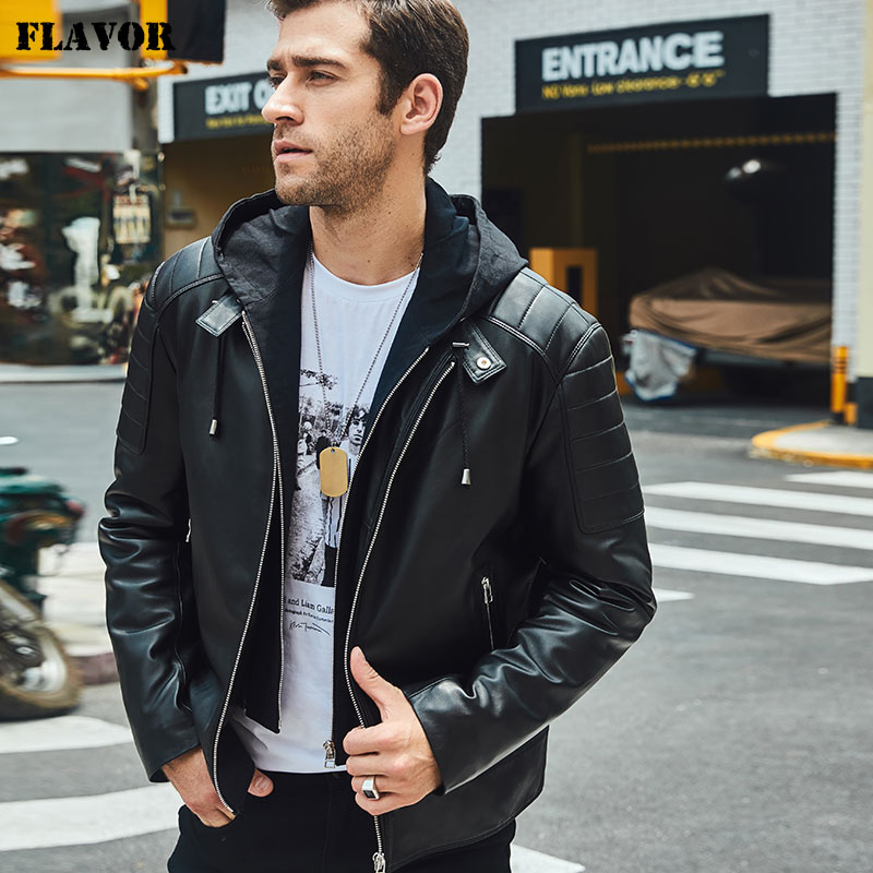 FLAVOR New Men's Leather Motorcycle Jacket Black Real Leather Jacket With Removable Hood