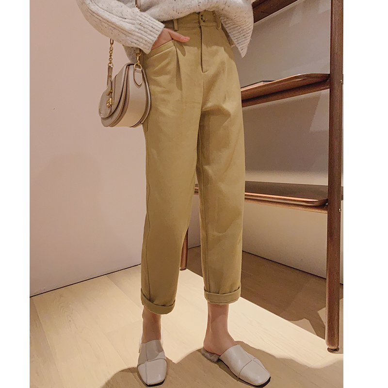 MISHOW Autumn New Women Pant Female  Casual Trousers Yellow Harem Pants Winter Ankle-Length Pants MX19D2126