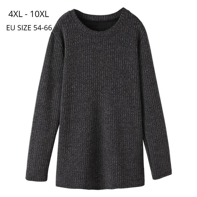 Plus Size 10XL 8XL 6XL 4XL Women Long Sleeve Spring Autumn Sweater Femme O Neck Dark Grey Pullover Female Oversized Warm Sweater