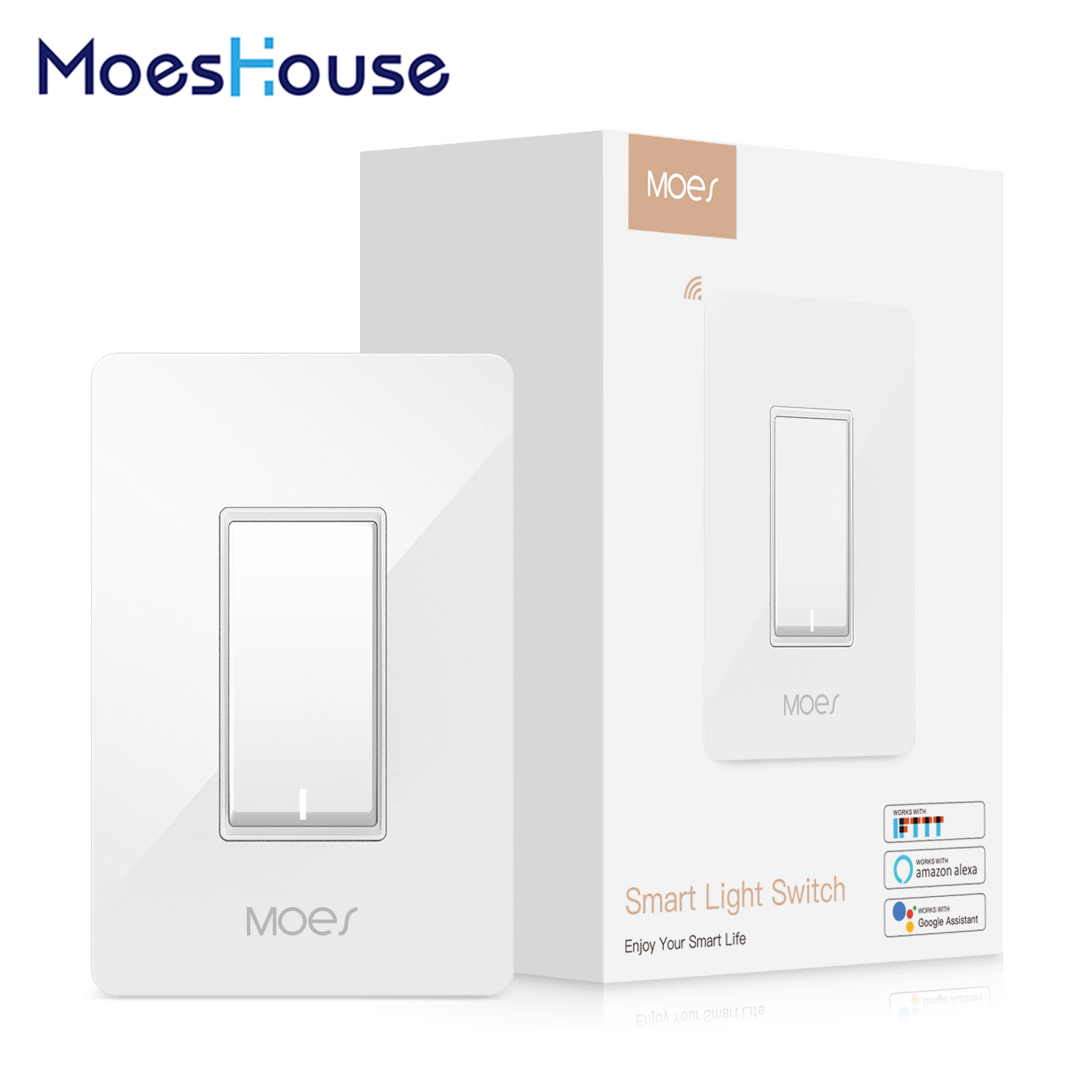 US WiFi Smart Light Switch Control By Smart Life/Tuya APP Works With Alexa Google Home For Voice Control No Hub Required