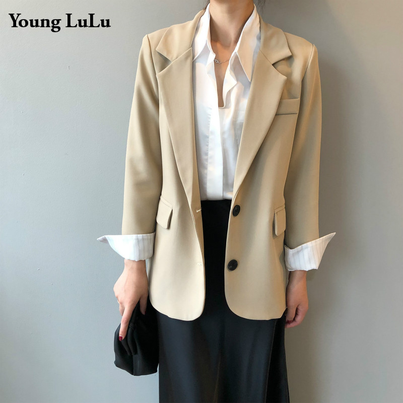 Womens Single Breasted Blazer Jacket Women Casual Patchwork Long Sleeve Work Suit Coat Office Lady Solid Slim Black Blazers 2020
