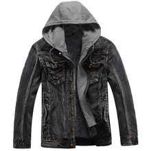 Laamei Men Hooded Denim Jackets Jean Coats New Autumn Winter Men Casual Denim Coats And Jackets Loose Jean Jackets Size 3XL(China)