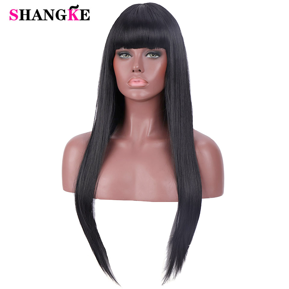 24'' Long Straight Hair Wigs For Women Synthetic Wigs For Black Women Heat Resistant False Hair Pieces Women Hairstyles