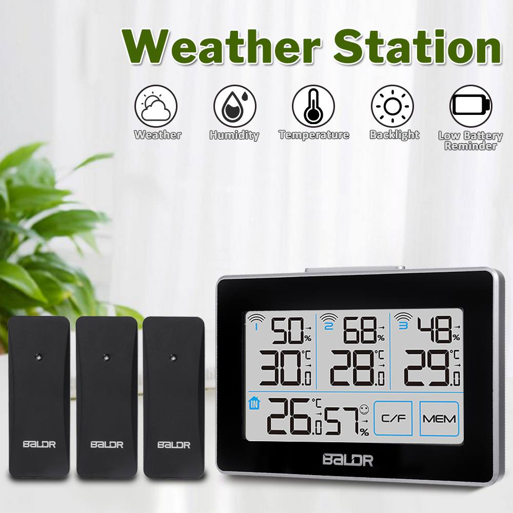 LCD Weather Station +3 Remote Sensor Digital Thermometer Temperature Home Outdoor Indoor Hygrometer Humidity Snooze Clock