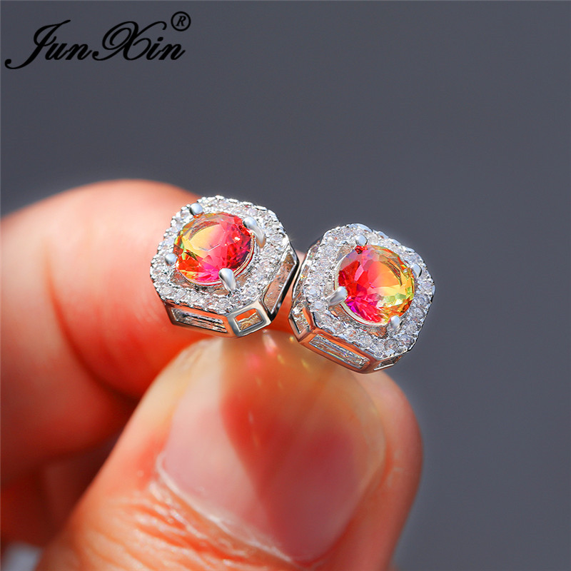 Mystic Yellow Rose Red Rainbow Fire Zircon Square Stud Earrings For Women White Gold Colorful Crystal Wedding Earring Jewelry CZ