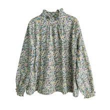 Johnature estampa feminina camisetas florais algodão doce 2020 primavera nova 10 cores gola alta manga longa mori menina camisetas casuais