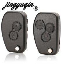 Jingyuqin vac102 botão para renault megane dacia, modus space duster clio 2 botões, dobrável, remoto, chave modificada, estojo para carros